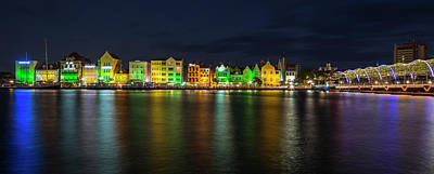 Panoramic Photograph - Willemstad And Queen Emma Bridge At Night by Adam Romanowicz