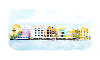Modern Man Surf - Willemstad Curacao Skyline by Ramona Murdock