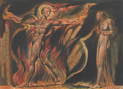 William Blake Relief - Jerusalem, Plate 26, Such Visions Have.... by William Blake
