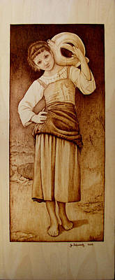 Woodburning Pyrography - William Bouguereau Water Carrier by Jo Schwartz