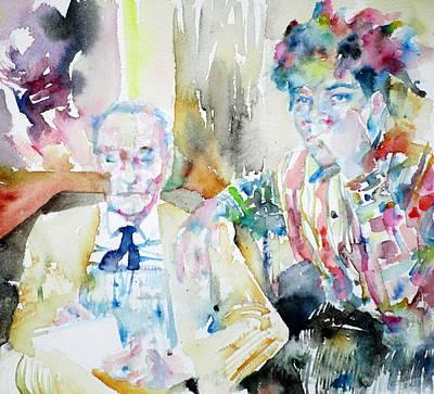 Jean Michel Basquiat Painting - William Burroughs And Basquiat - Watercolor Portrait by Fabrizio Cassetta
