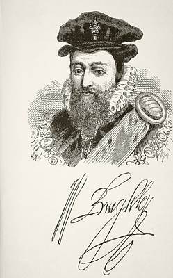 Autographed Drawing - William Cecil, 1st Baron Burghley 1520 by Vintage Design Pics