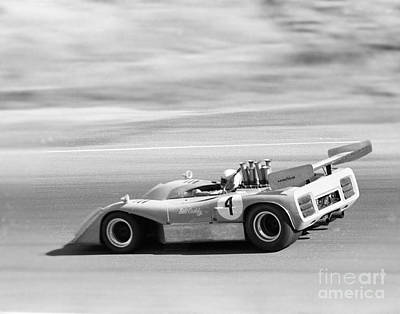 Photograph - William Cuddy In Mclaron M8e  At Laguna Seca 1973 by California Views Archives Mr Pat Hathaway Archives