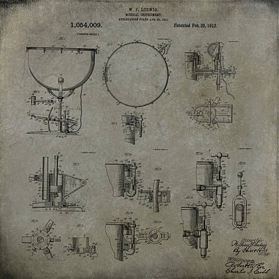 Digital Art - William F Ludwig Kettle Drum Patent by Paulette B Wright