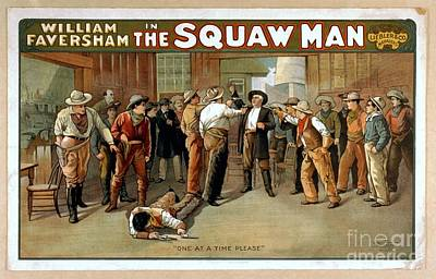 Painting - William Faversham In The Squaw Man One At A Time Please Vintage Western Entertainment Poster 1905 by R Muirhead Art