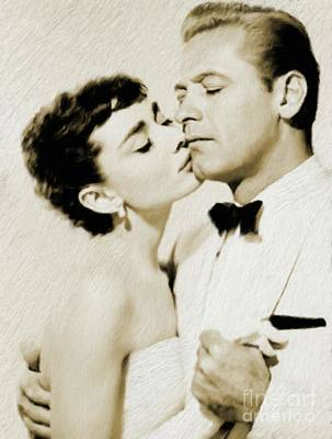 Actors Royalty-Free and Rights-Managed Images - William Holden and Audrey Hepburn by Mary Bassett