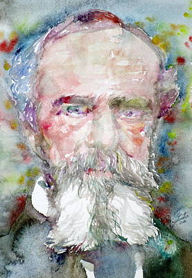 Painting - William James - Watercolor Portrait.2 by Fabrizio Cassetta