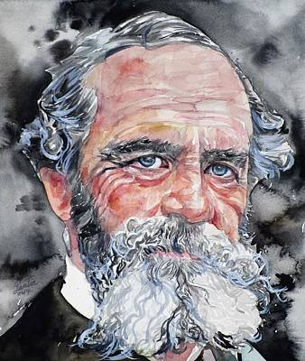 Painting - William James - Watercolor Portrait.3 by Fabrizio Cassetta