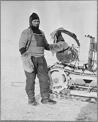 Painting - William Lashly Standing By A Wolseley Motor Sleigh During The British Antarctic Expedition Of 1911-1 by Celestial Images
