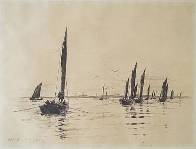 Ceramics Painting - William Lionel Wyllie British, 1851-1931 - Loch Fyne, Fishing Boats by Celestial Images
