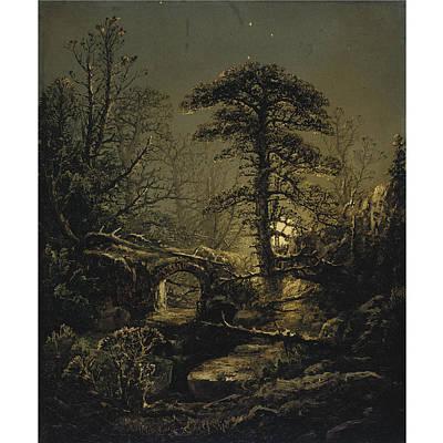 Nature Painting - William Louis Sonntag 1822-1900 Night In The Forest by William Louis Sonntag