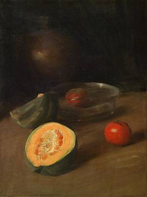 Painting - William Merritt Chase 1849-1916 Still Life With Cut Melon, Glass Bowl And Apples, Ca. 1900 by Celestial Images