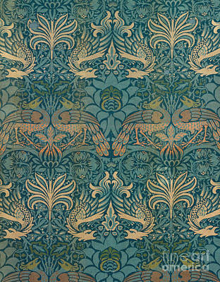 Peacock Drawing - William Morris Peacock And Dragon Textile Design by William Morris