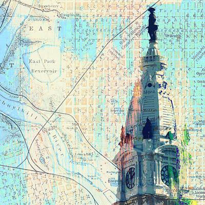 Tourist Attraction Digital Art - William Penn City Hall V2 by Brandi Fitzgerald
