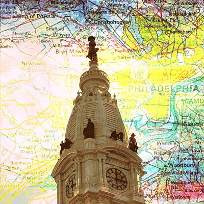 Tourist Attraction Digital Art - William Penn City Hall V3 by Brandi Fitzgerald