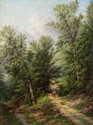 Painting - William Rickarby Miller American 1818-1893 The Woodland Path, 1884 by Celestial Images