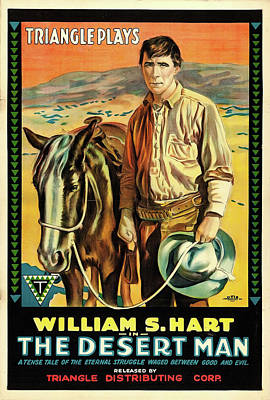 Western Horse Drawing - William S Hart In The Desert Man 1917 by Mountain Dreams