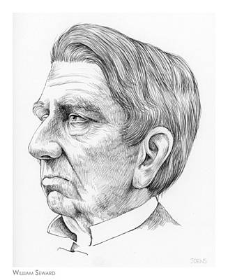 Politicians Drawings - William Seward by Greg Joens