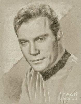 Star Trek Drawing - William Shatner Star Trek's Captain Kirk by Frank Falcon