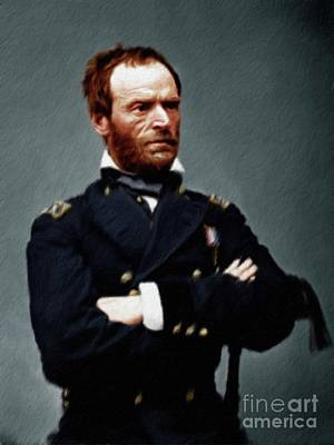 Colonel Wall Art - Painting - William Tecumseh Sherman by Mary Bassett