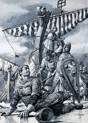 Viking Ship Painting - William The Conqueror Falls At Hastings by CL Doughty