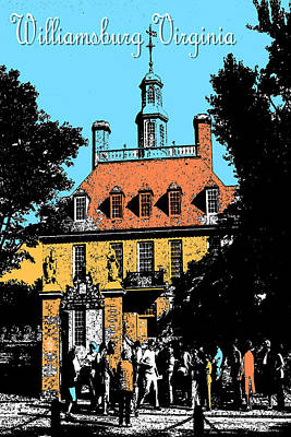 Drawing - Williamsburg Virginia Poster by Art America Gallery Peter Potter