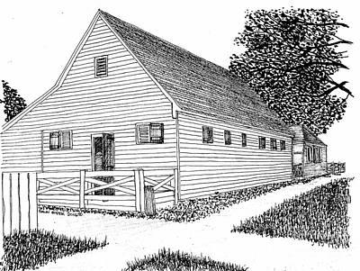 Williamsburg Color Drawing - Williamsburg Virginia Restoration District Barn by Dawn Boyer