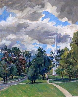 Abstract Realist Landscape Painting - Williamstown Cloudy by Thor Wickstrom