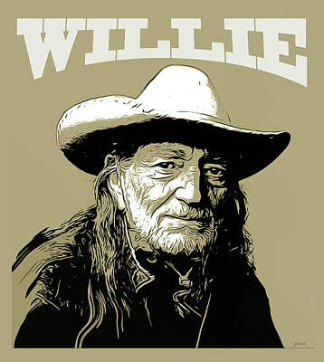 Country Drawing - Willie 2 by Greg Joens