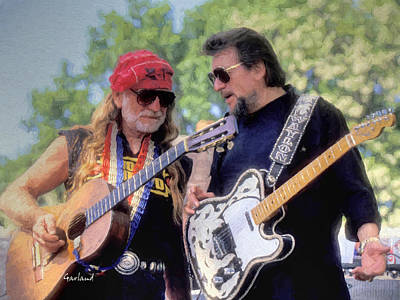 Music Mixed Media - Willie And Waylon by Garland Johnson