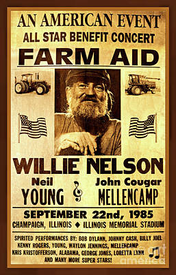 Photograph - Willie Nelson 1985 Vintage Farm Aid Poster by John Stephens