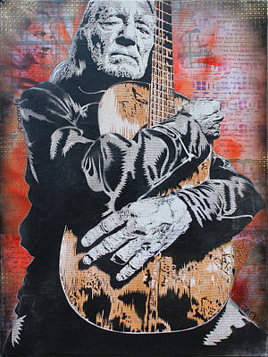 Willie Nelson And Trigger Art Print by Josh Cardinali