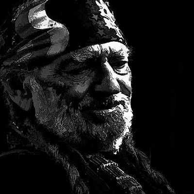 Digital Art - Willie Nelson Bw2 by Marlene Watson