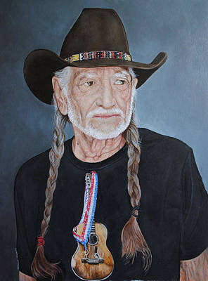 Painting - Willie Nelson by David Dunne