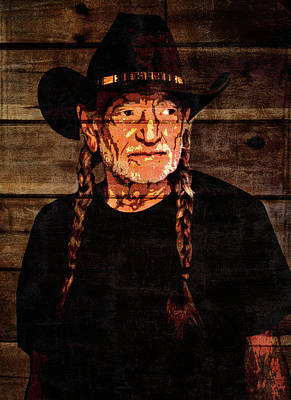 Musicians Mixed Media Rights Managed Images - Willie Nelson Grunge Barn Door Royalty-Free Image by Dan Sproul