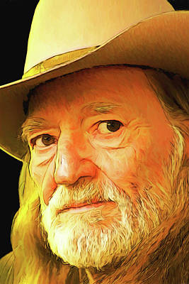 Digital Art - Willie Nelson by John Haldane