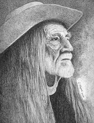 Drawing - Willie Nelson by Lawrence Tripoli