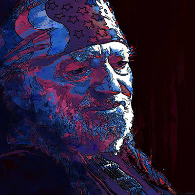 Digital Art - Willie Nelson by Marlene Watson