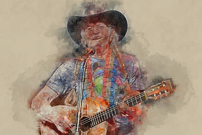 Mixed Media - Willie Nelson by Marvin Blaine