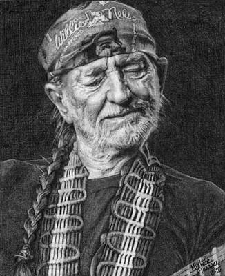 Willie Nelson Drawing - Willie Nelson by Michelle Flanagan