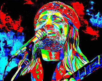Nashville Painting - Willie Nelson by Mike OBrien