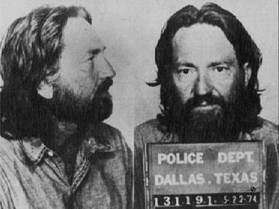 Musician Photos - Willie Nelson Mug Shot Horizontal Black and White by Tony Rubino
