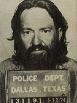 Willie Nelson Mug Shot Vertical Sepia Original by Tony Rubino