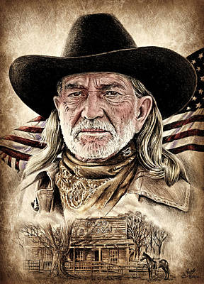 Musicians Drawings Rights Managed Images - Willie Nelson Pozo Saloon American west edit by Andrew Read Royalty-Free Image by Andrew Read
