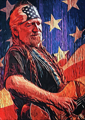Digital Art - Willie Nelson by Taylan Apukovska
