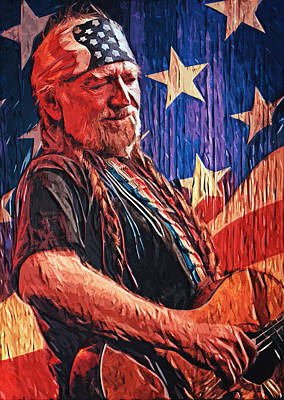 Highwaymen Digital Art - Willie Nelson by Taylan Apukovska