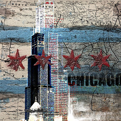Liberty Painting - Willis Tower 208 1 by Mawra Tahreem