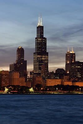 Photograph - Willis Tower At Dusk Aka Sears Tower by Adam Romanowicz
