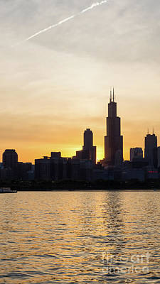 Photograph - Willis Tower Sunset Silhouette by Jennifer White