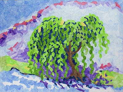 Wall Art - Painting - Willow By The River by Brenda Layman